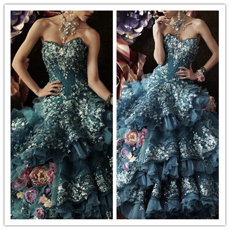 Stella De Libero Luxus Brautkleider Appliques Blumen Atrovirens Lace Up Zurück Brautballkleid-Fußboden-Längen-Vintage Hochzeit Kleid