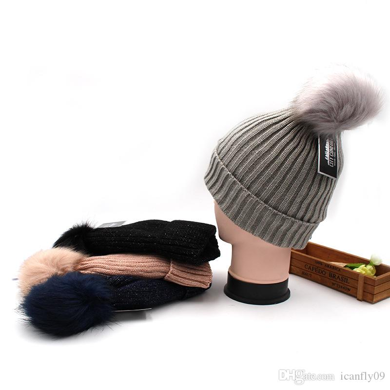 2019 autumn and winter thick warm and plush wool hat Europe and America wild hair ball knit hat women's cute hair ball cap