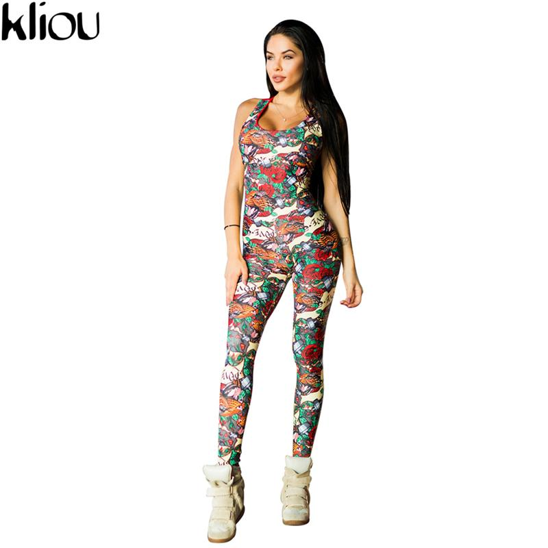 Kliou 2017 Sexy Sleeveless Print Jumper Striped Bodysuit Overalls Women Bodycon Jumpsuits And Rompers Casual Sporting Suits Y19060501