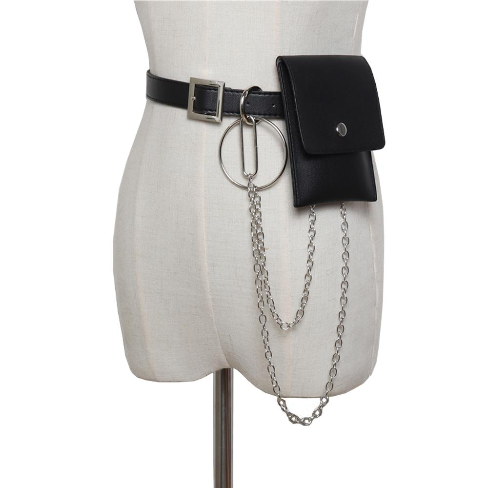 Leather Belt With Chain Fanny Pack Waist Bags With Removable Leather Belt Women Punk Pack Steampunk Holster Bags Pochete Homem