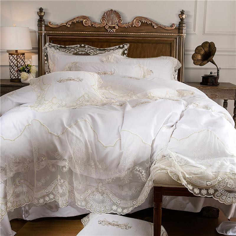 weiße Prinzessin Bettwäschesätze ägyptischer Baumwolle Spitze Bettwäsche Königin King-Size-4 / 6pcs Bettbezug Set Bettwäsche pillowcase