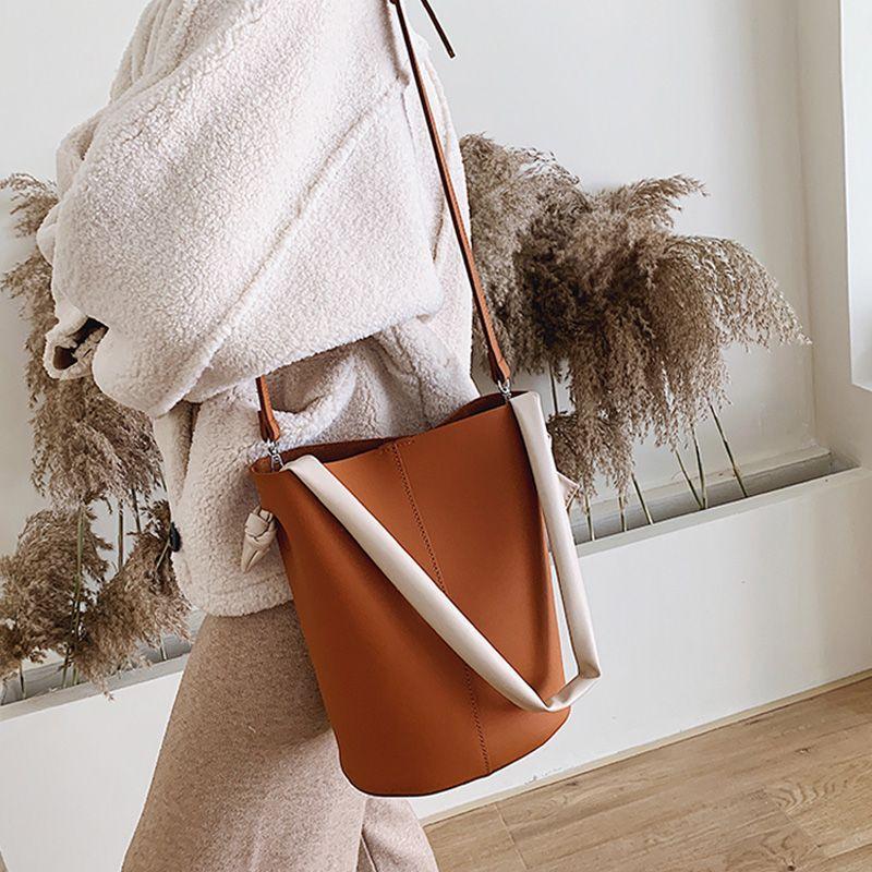 Frauen Doppelkapazität Handtaschen Mode Taschen High Shoudler Taschen Strap Leder Frauen PU Eimer Damen Hand Große Imixu