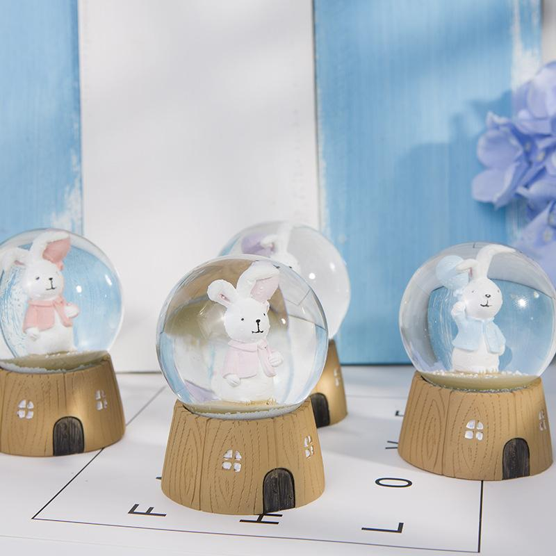 Cartoon rabbit crystal ball car decoration creative home resin crafts decoration couple holiday gift