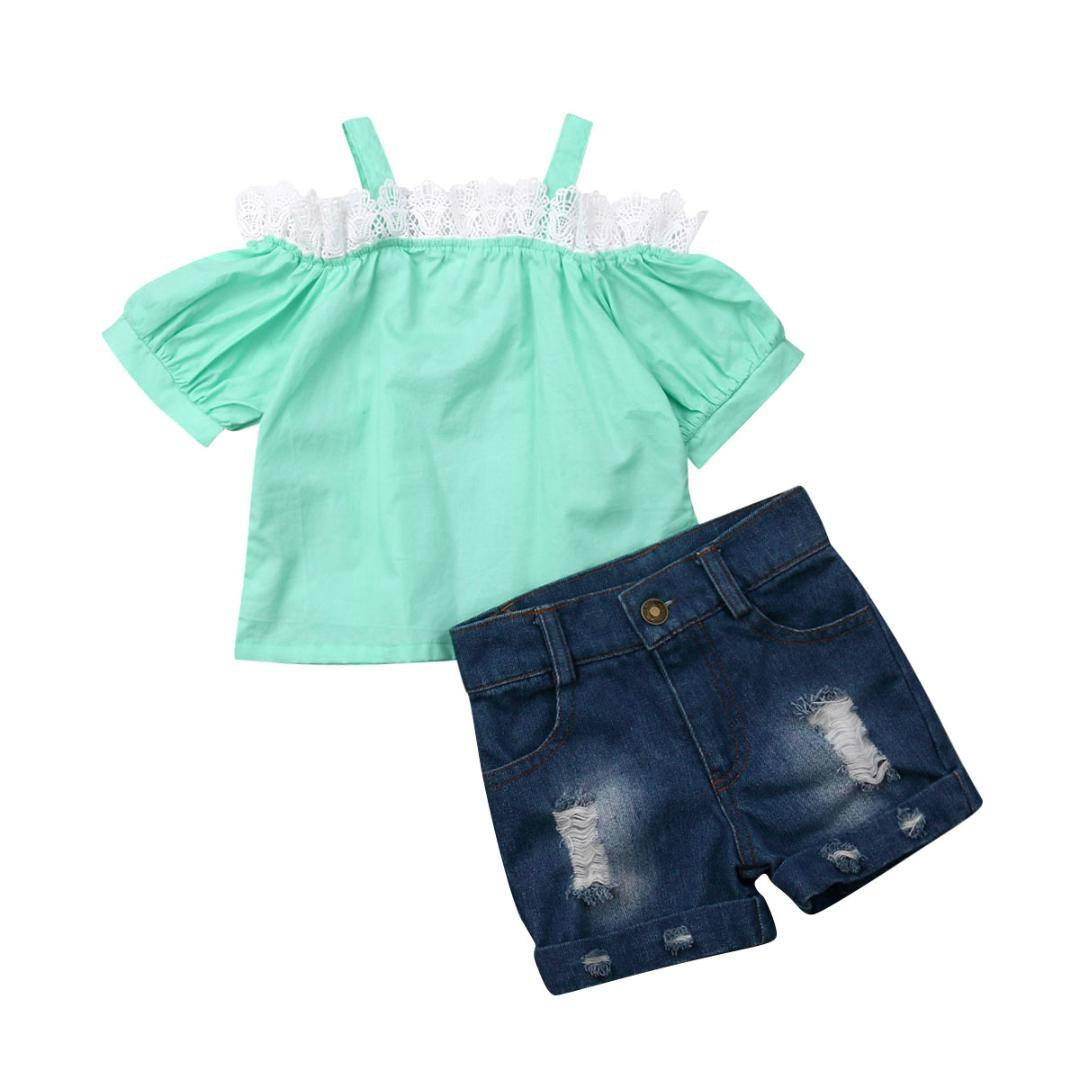 Newborn Toddler Baby Girl Clothes Short Sleeve T-shirt Tops+Pants Outfits Set