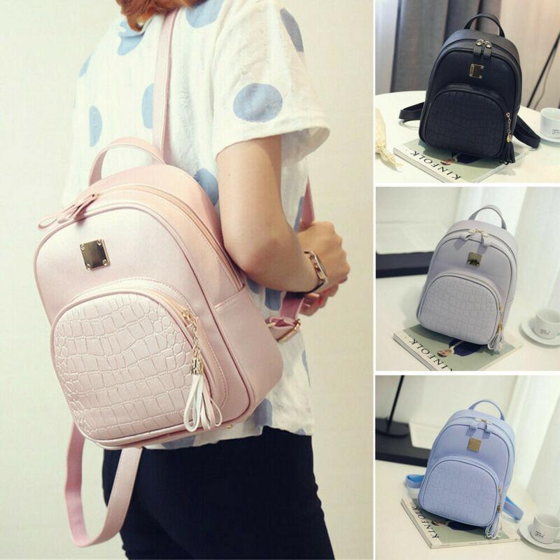 Girl Women Men Small Solid PU Leather Travel Backpack Satchel Rucksack Laptop School Bag