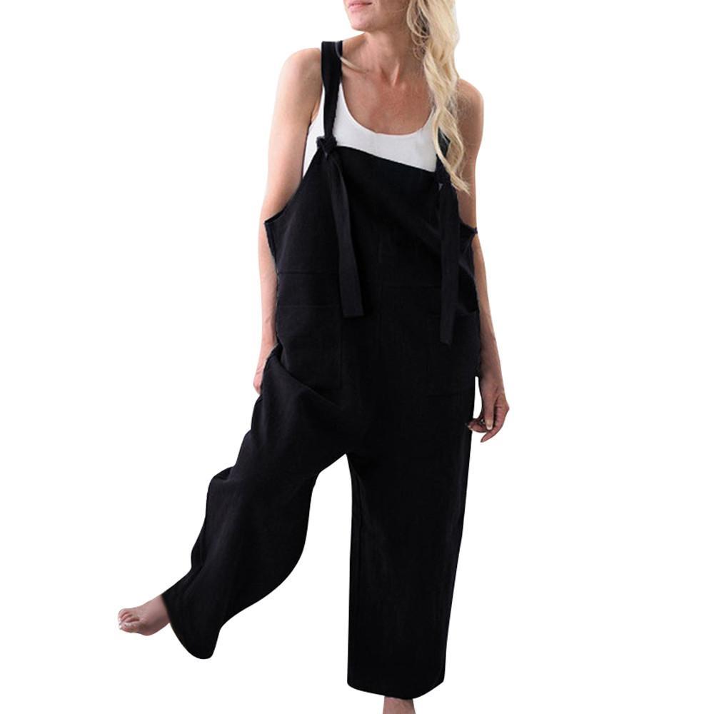 Atacado Moda Confortável Mulheres Cinta Frente Bolsos Ampla Pernas Casuais Macacões Soltos Cor Sólida M300111
