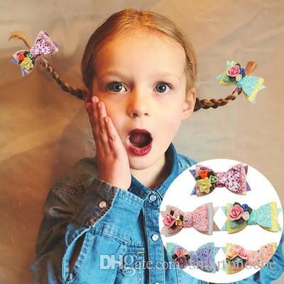 Boutique ins 12pcs Fashion Cute Glitter Floral Bow Hairpins Solid Flower Bowknot Hair Clips Princesss Headwear Hair Accessories