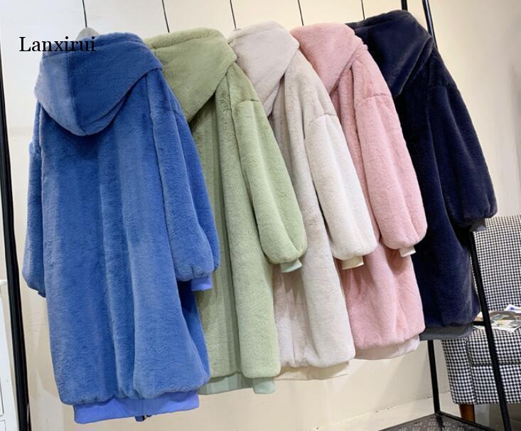 Las mujeres de alta calidad falsa chaqueta de piel de lujo del abrigo de pieles de peluche caliente grueso larga con capucha femenino de la talla Abrigo Chaqueta