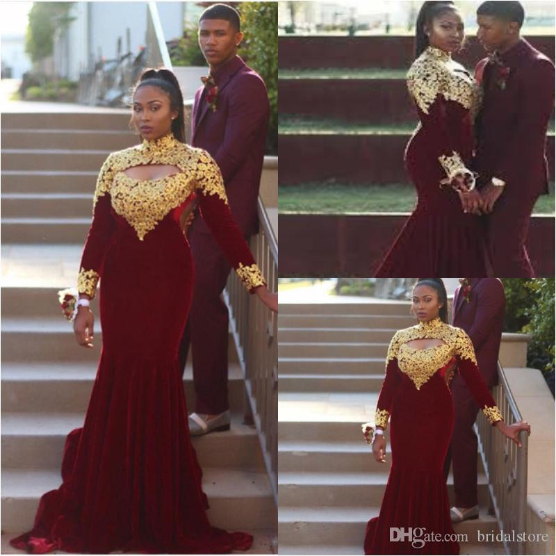 Maroon Mermaid Gold Appliques Prom Dresses Elegant Open Neck Long Sleeves  Plus Size Evening Gowns Fishtail Cheap Black Girls Pageant Wear Backless ...