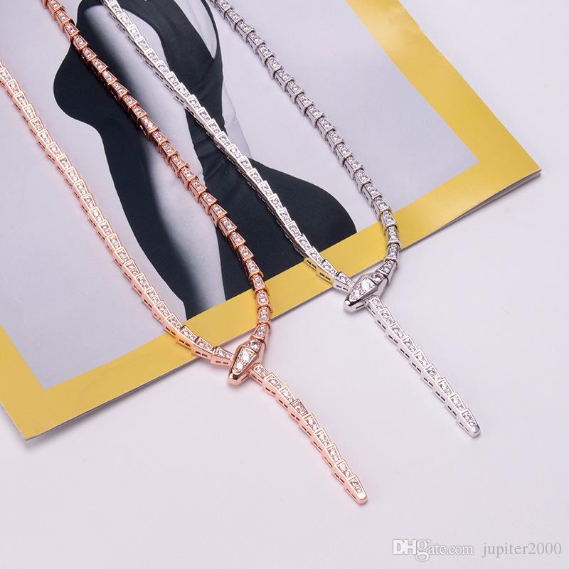 حار بيع الأزياء سيدة نساء النحاس 18K مطلية بالذهب وضع كامل الماس الأفعى شكل ضيق سلسلة عشاء القلائد الأفعى الهيكل العظمي قلادة