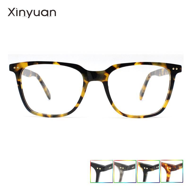 A013 2020 Classic Retro Acetate Myopie Nerd-Brillen Frames für Männer Rechteck klare Linse Gläser Acetate Männlich Grad Glasse T200428