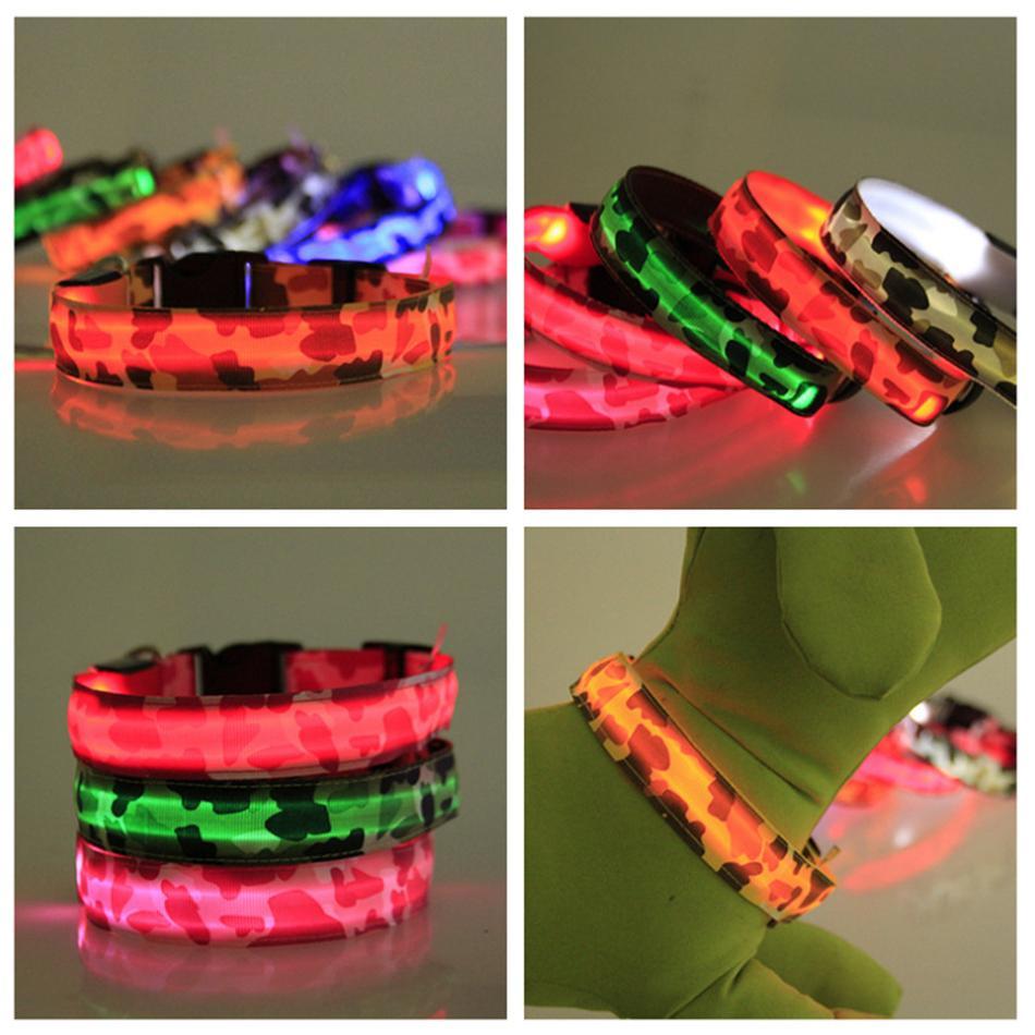 LED Dog Camouflage Collar Night Safety Flashing Glow Pet Dog Cat Collar Glow In The Dark Luminous Dogs Supplies LJJA3571-2