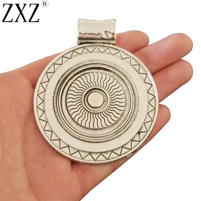 ZXZ 2pcs Antique Silver Large Bohemia Boho Round Charms Pendants for Necklace Jewelry Making Findings