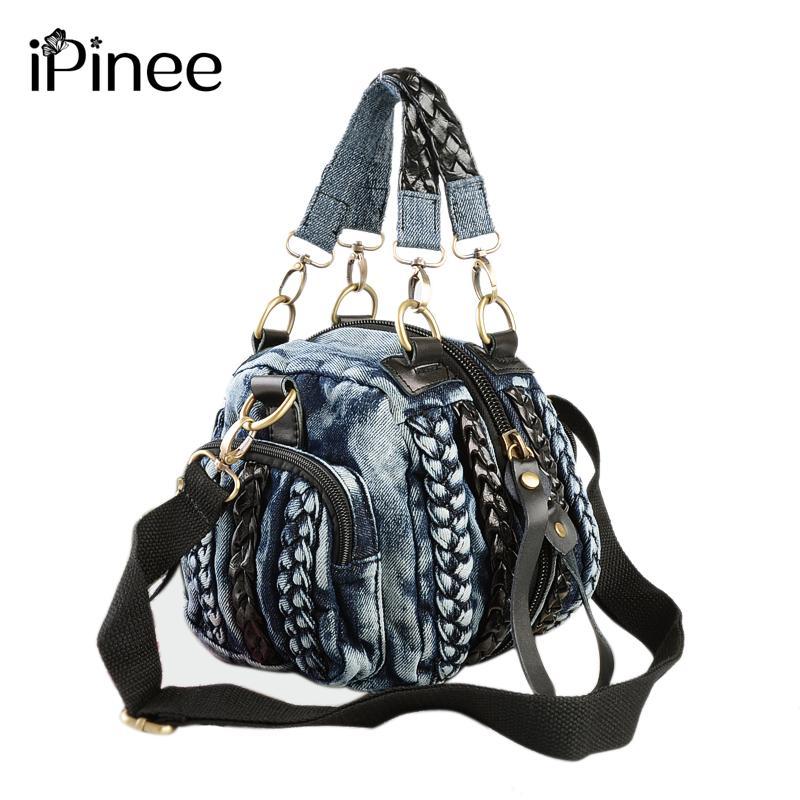 iPinee Casual Denim Mujer bolso de las mujeres pequeños bolsos de hombro de la vendimia tejanos de Crossbody del monedero de las señoras