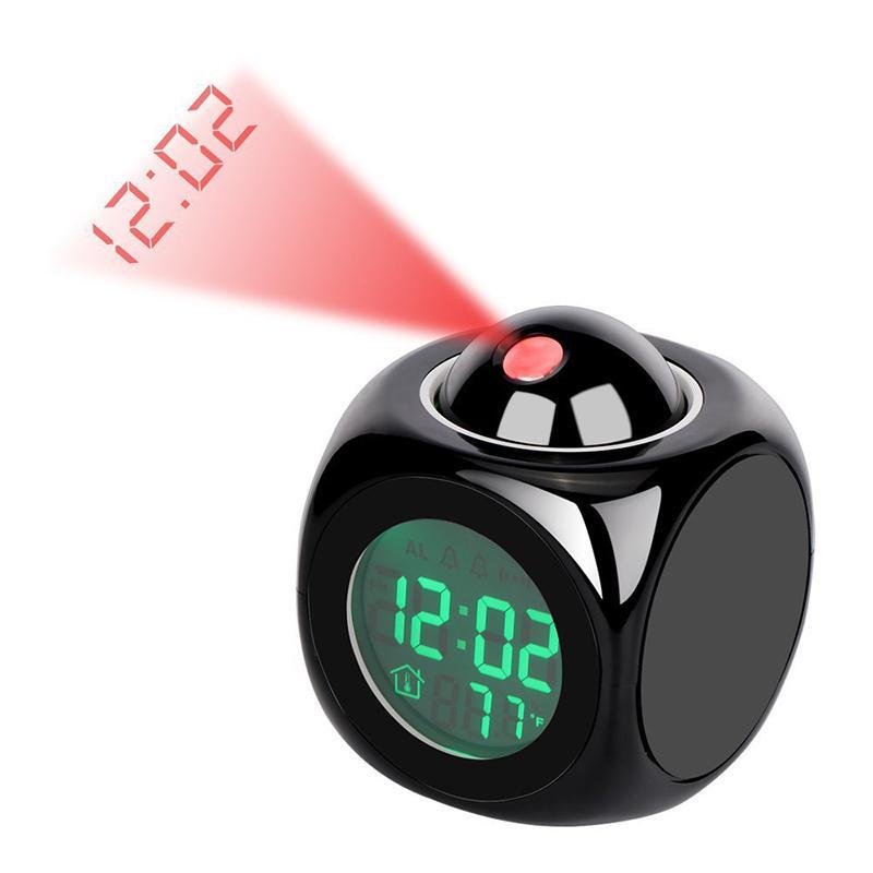QMJHVX Orologio sveglia della proiezione digitale LCD Snooze di temperatura Inglese Dillo La Réveil Tempo orologi retroilluminazione a LED campana Timer