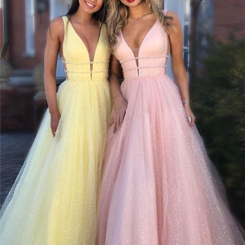 빛나는 핑크 빛 노란색 댄스 파티 드레스 롱 2020 깊은 V 넥 등이없는 스윕 기차 매력적인 공식적인 저녁 파티 가운 vestido 드 올 정의