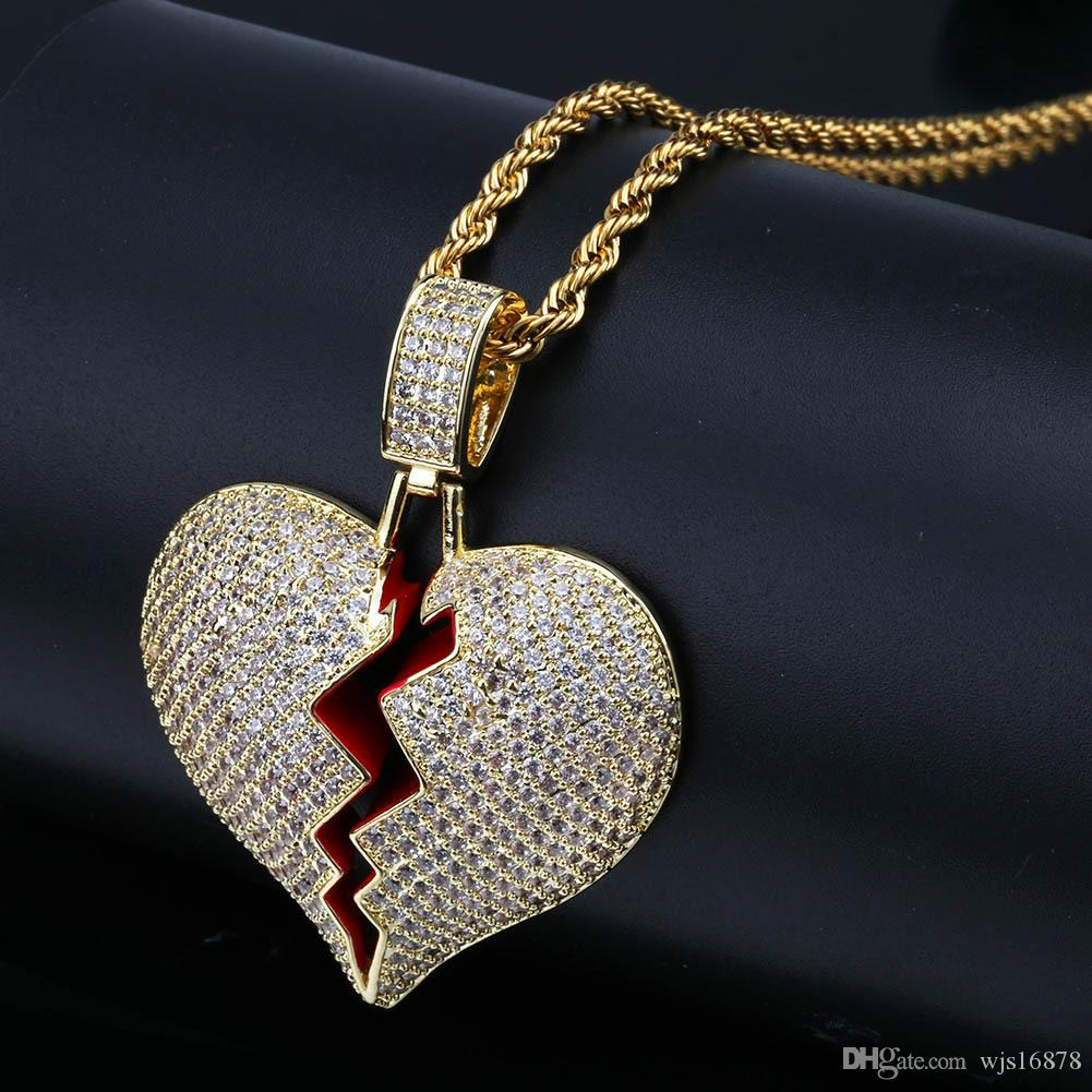 luxurious Iced out Broken Love Heart Pendant Necklaces Men's Bling Zircon Love charm Gold Silver Twisted chain For women Hip hop Jewelry