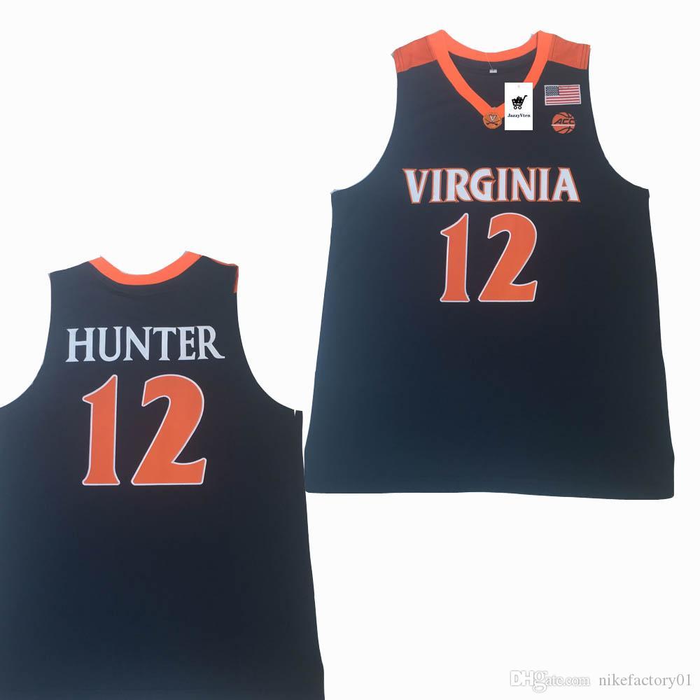 NCAA 2019 Nova Virginia Cavaliers Jersey Azul 5 # Kyle Guy ACC UVA Final Quatro 12 De'Andre Hunter Basquete Masculino Camisas Costurado Branco Azul