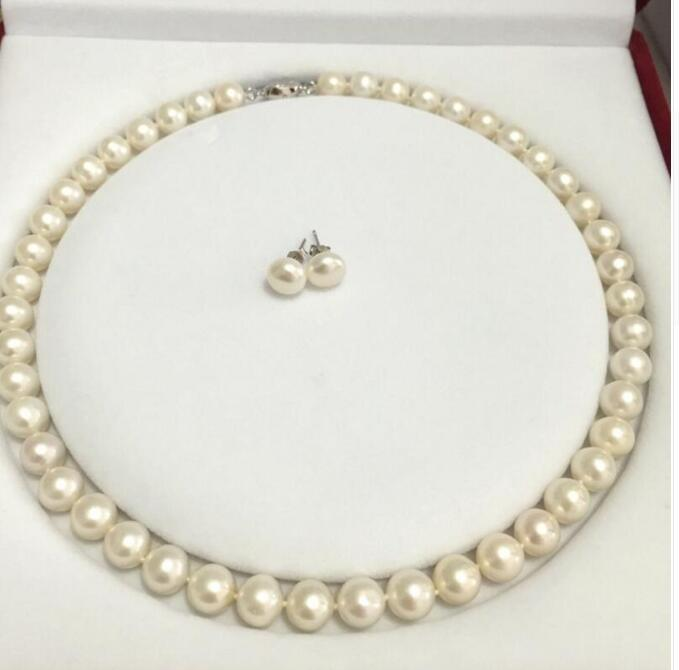 2019 9 10mm Round Freshwater Pearl Necklace Set Fashion All