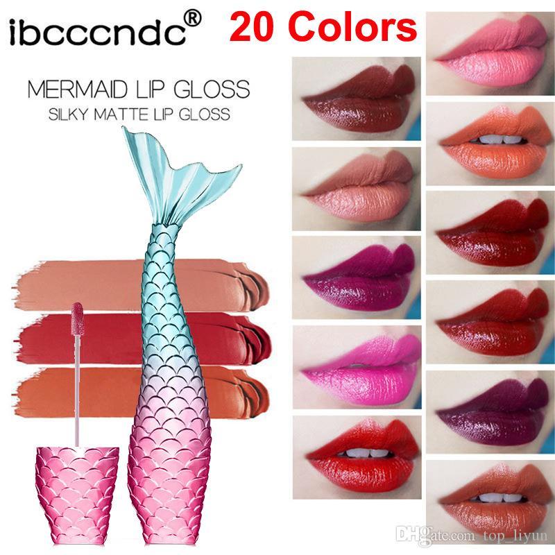 립글로스 롱 라스팅 메이크업 Ibcccndc 인어 립 글로스 매트 리퀴드 립스틱은 벨벳 붙지 않는 컵 립스틱 부드러운 립 글로스를 세트 20 색