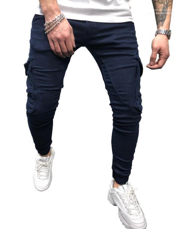 Pantolon Sokak Hiphop Casual Fermuar Fly Kalem Pantolon Erkek Jeans Moda Lacivert Cep Kargo