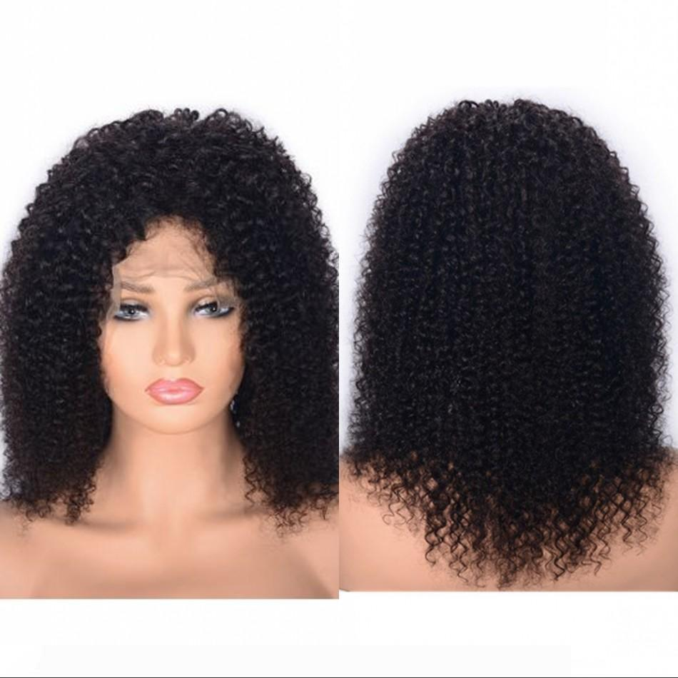 Indiano Cabelo Humano Curly rendas frente Wigs Pré arrancada Hairline Natural Color Glueless Swiss Lace Kinky Curly Wigs