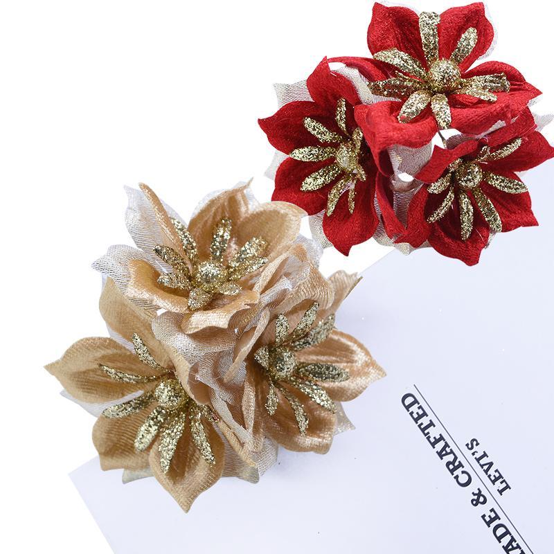 9 unids oro brillo seda flores artificiales boda guirnalda Decoración para el hogar suministros DIY caja de regalo decoración Navidad decorativo flor falsa