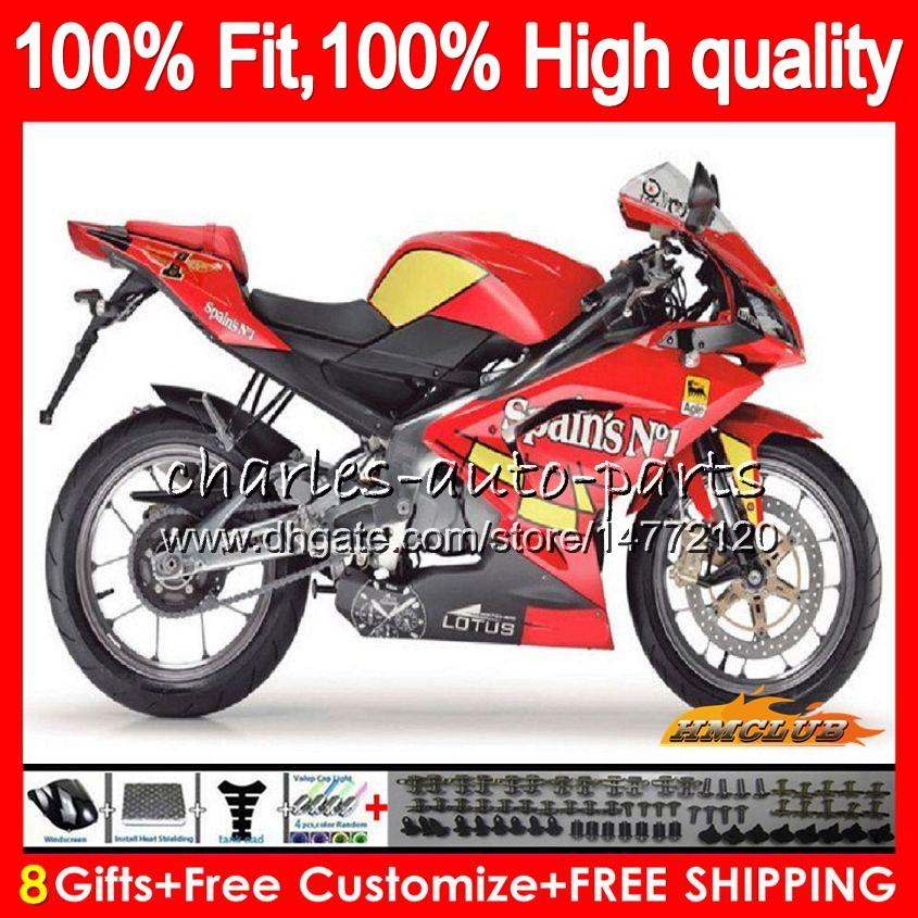 Injection Für Aprilia RS4 RS 125 R RSV125 RS125R RS125 glänzend 69NO.74 RS125 06 07 08 09 10 11 2006 2007 2008 2009 2010 2011 Fairings rot