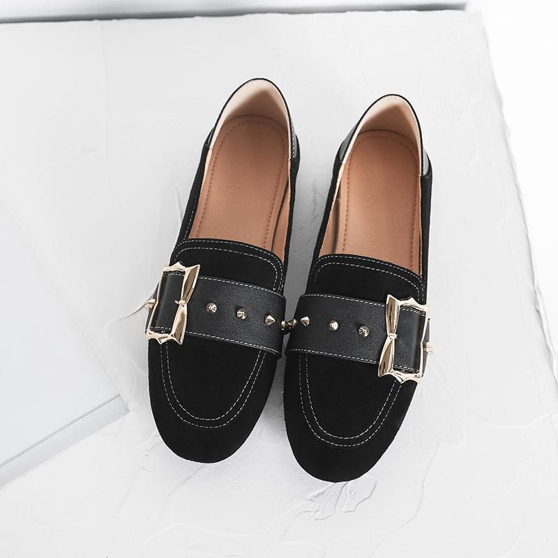 Hot Sale-New Arrival Fashion Transparent Blet Metal Buckle Rivet Genuine Leather Women For Loafers Shoes Casual Shoes Office Dress