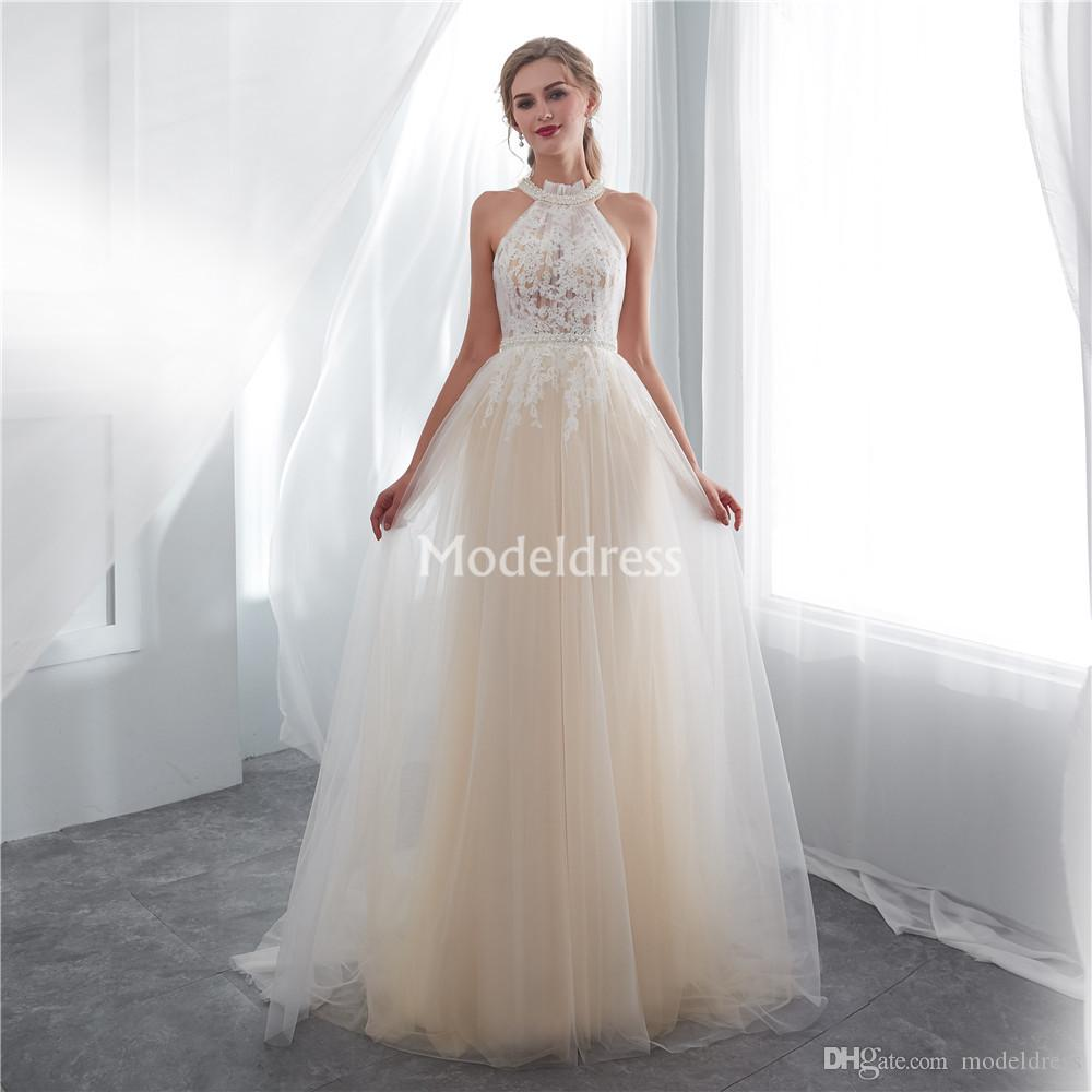 Romantic Lace Wedding Dresses Pearls Illusion Sweep Train Garden Beach Bridal Gown New Gorgeous Cheap Church Castle Vestidoe De Noiva Custom
