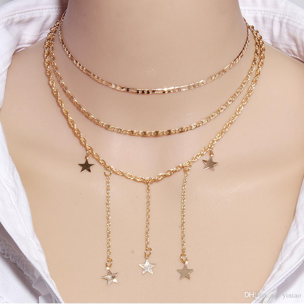 Wholesale 2019 New Three Layer Gold Chain Star Pendant Necklace Fashion Jewelry For Women Girl Party Girl Accessories Name Necklace Gold Necklace From Yiniao 1 11 Dhgate Com