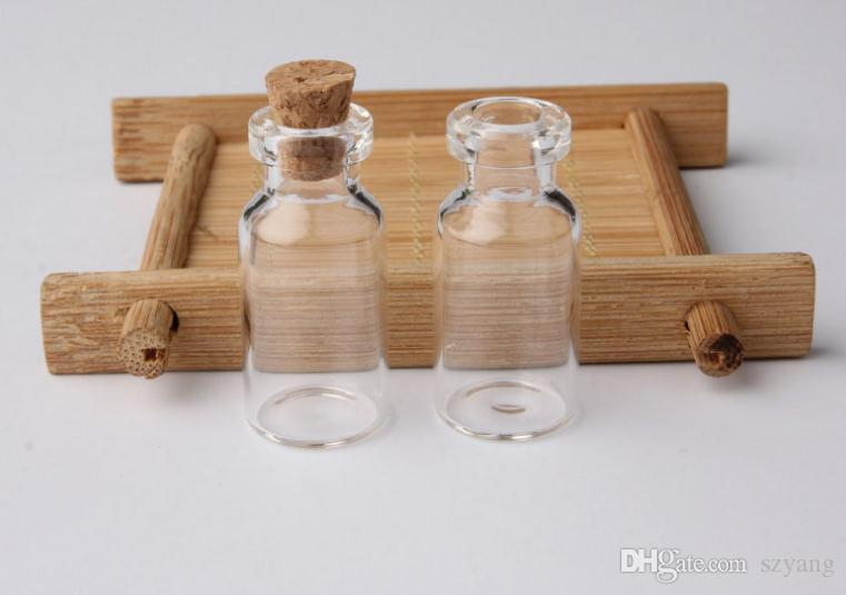 2ml Vials Clear Glass Bottles With Corks Mini Glass Bottle Wood Cap Empty Sample Jars Small 16x35x7mm Cute Craft Wish Bottles SN2812