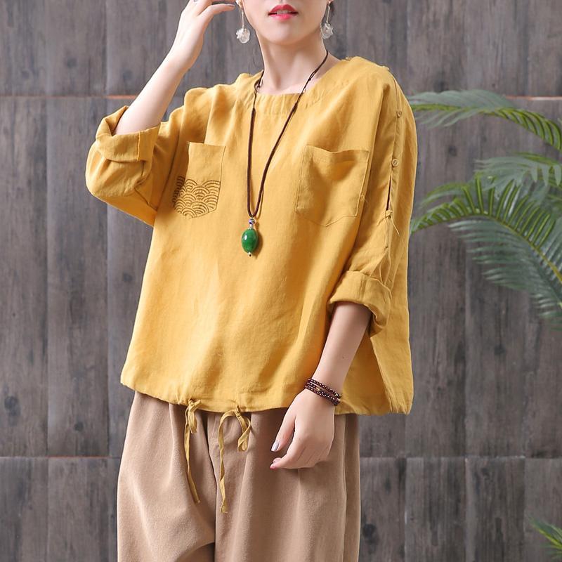 Mujer Primavera Verano 2019 Nuevas camisas vintage Algodón Lino Botón Hombro Cómodamente sólido Cordón O-cuello suelto Blusa Bolsillo