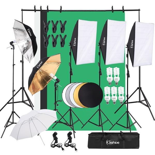 Осветительные оборудование студии освещение Kit Регулируемых Максимального размера фон Система поддержка 3 цвет Фон ткань Photo Studio Softbox Наборы Con