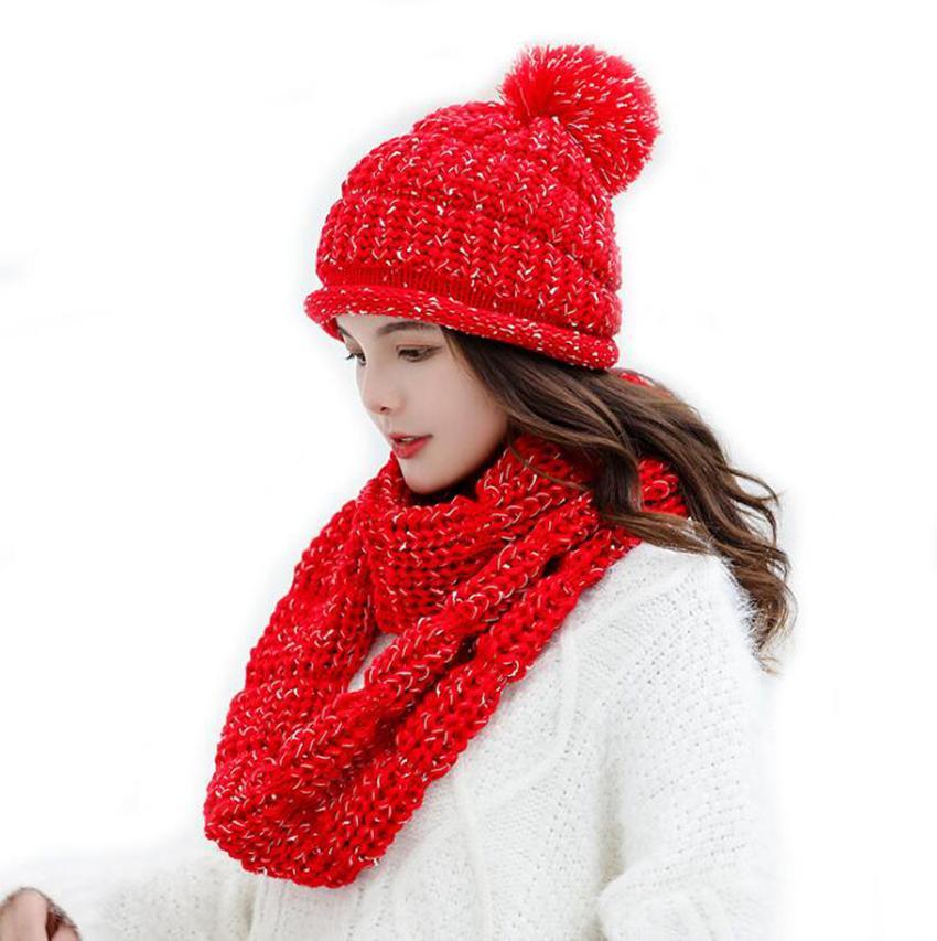 Mulher Knit Beanie chapéu e lenço Set 7 Cores Pom Pom Gorros Inverno Quente meninas bonitos Moda Cap LJJO7220-1