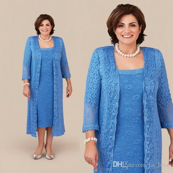 Blue Lace Plus Size Mother of the Bride Dress with Coat Jacket Long Sleeve Column Tea Length Wedding Guest Party Evening Formal Gowns