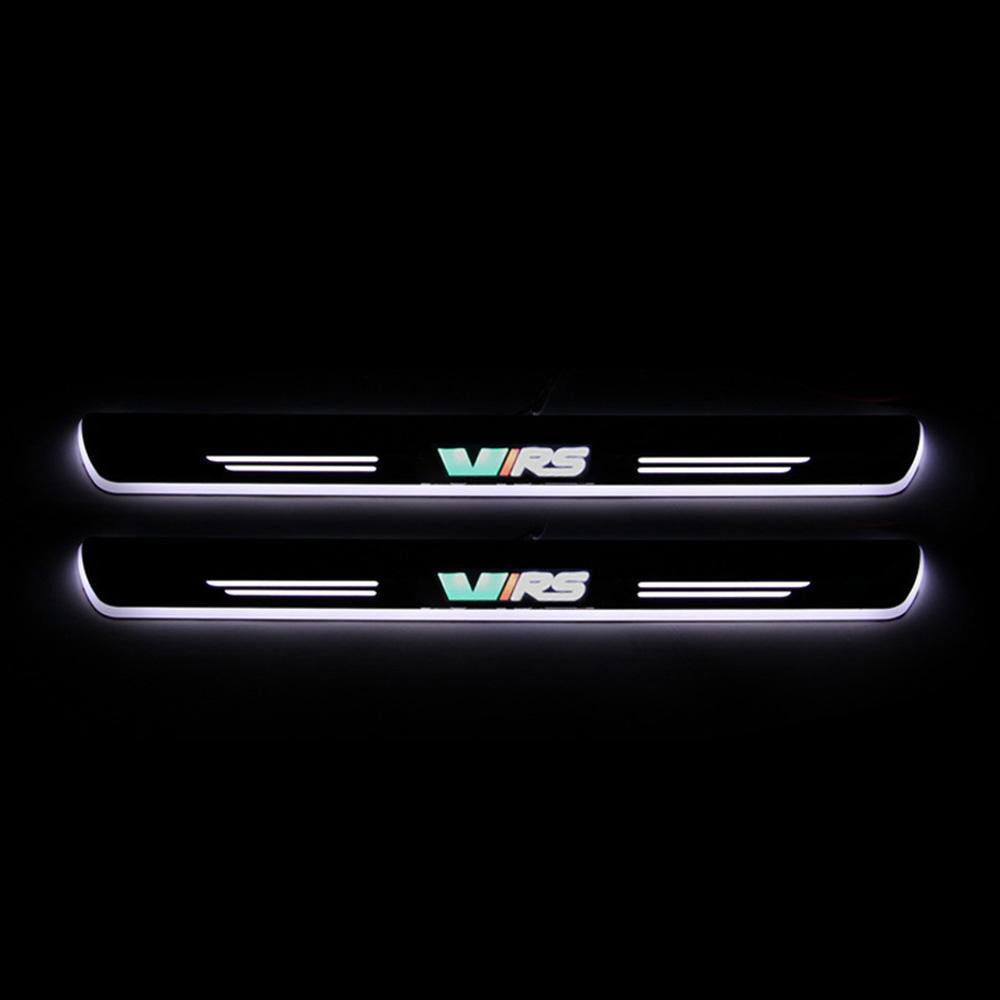 For Skoda Octavia VRS 2012 - 2019 Acrylic Moving LED Welcome Pedal Car Scuff Plate Pedal Door Sill Pathway Light