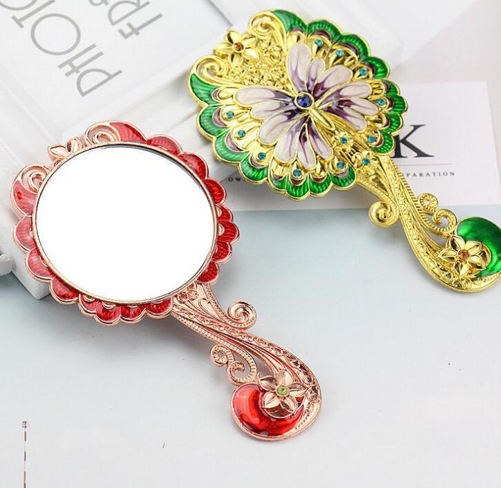 DHL Hand Held Mirror Vintage Hand Mirror butterfly Flower Pattern Decorative Hand Metal Vanity Mirror Comb Set nw