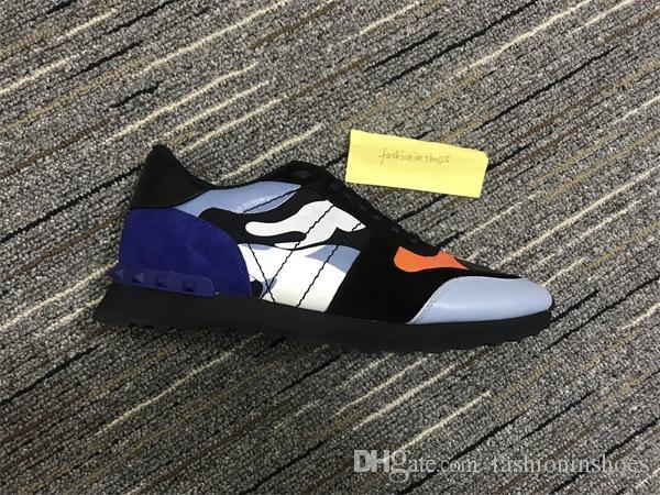 Rockstuds cuero de gamuza encaje rockrunner zapatos hombres sty rivet camuflaje zapatillas de deporte corredor entrenadores deporte zapatos casuales tamaño uniforme euro 35-45