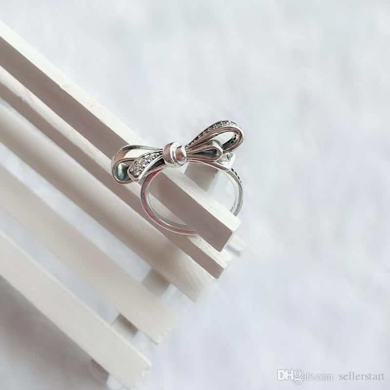 NEW 925 Sterling Silver Gorgeous bows RING Set Original Box for Pandora Luxury Fashion CZ Diamond Wedding Gift Ring