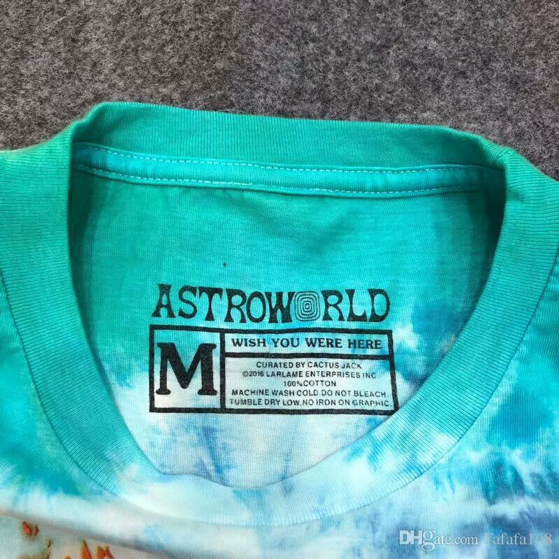 e07258df0ca9 New TRAVIS SCOTT ASTROWORLD SMILEY Tie Dye T shirt Men Women 1a:1 High  Quality ...