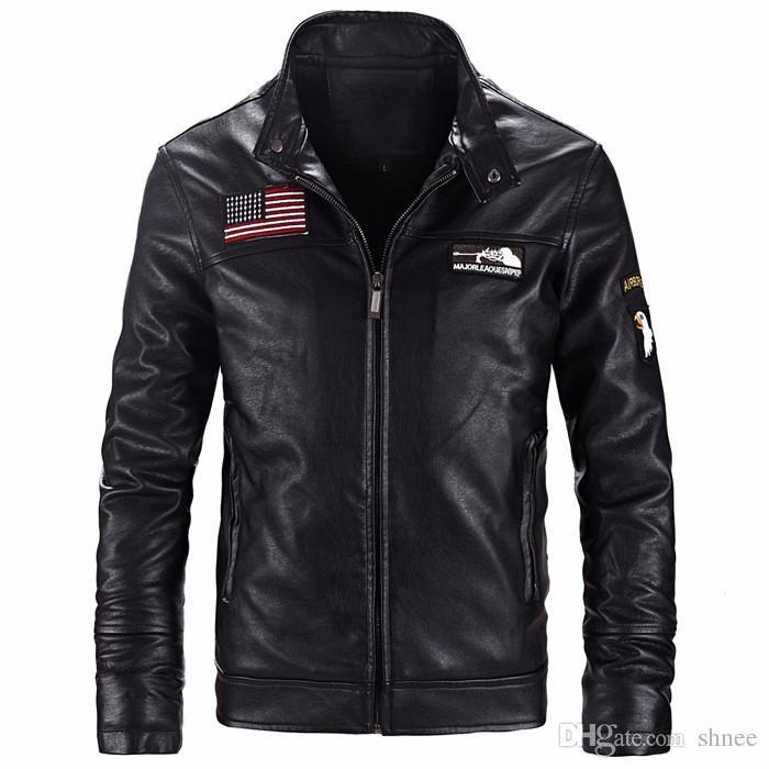 acket erkek ABD Bayrağı Yelek Nakış Bayrak Deri ceketler Erkekler Palto Kış Sıcak Coat Erkekler Motosiklet Veste cuir homme