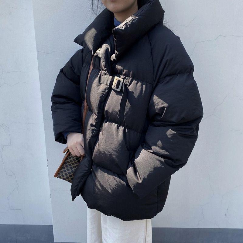 Inverno Cappotto Donne Giacche Parka collare del basamento spessore caldo Outwear Tasche Solid Harajuku Tops Bubble Giubbotto imbottito Parkas Femme