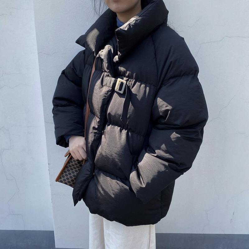 Manteau d'hiver Femmes Vestes Parka col montant chaud épais Outwear poches Harajuku solides Tops Bubble Femme Doudoune Parkas