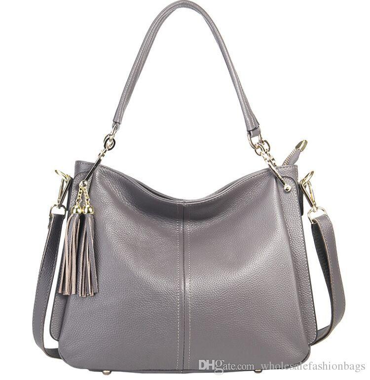 Yepyeni yüksek kaliteli hakiki deri gerçek dana kadınlar üst kolu hobo püskül çanta omuz çantası taşımak çanta Y10