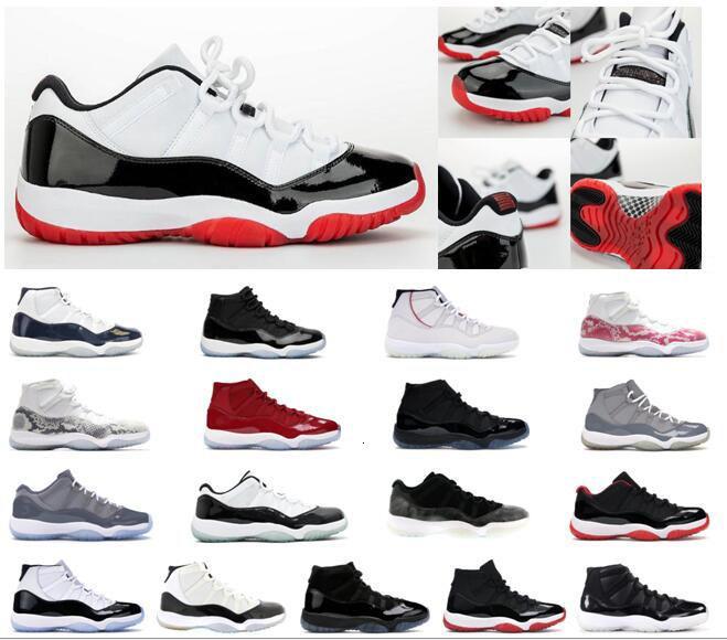 Low Concord Bred Jumpman Hommes Chaussures Femmes 11s hommes de basket-ball Chaussures de sport rouge baskets Space Jam Metallic Silve avec la boîte