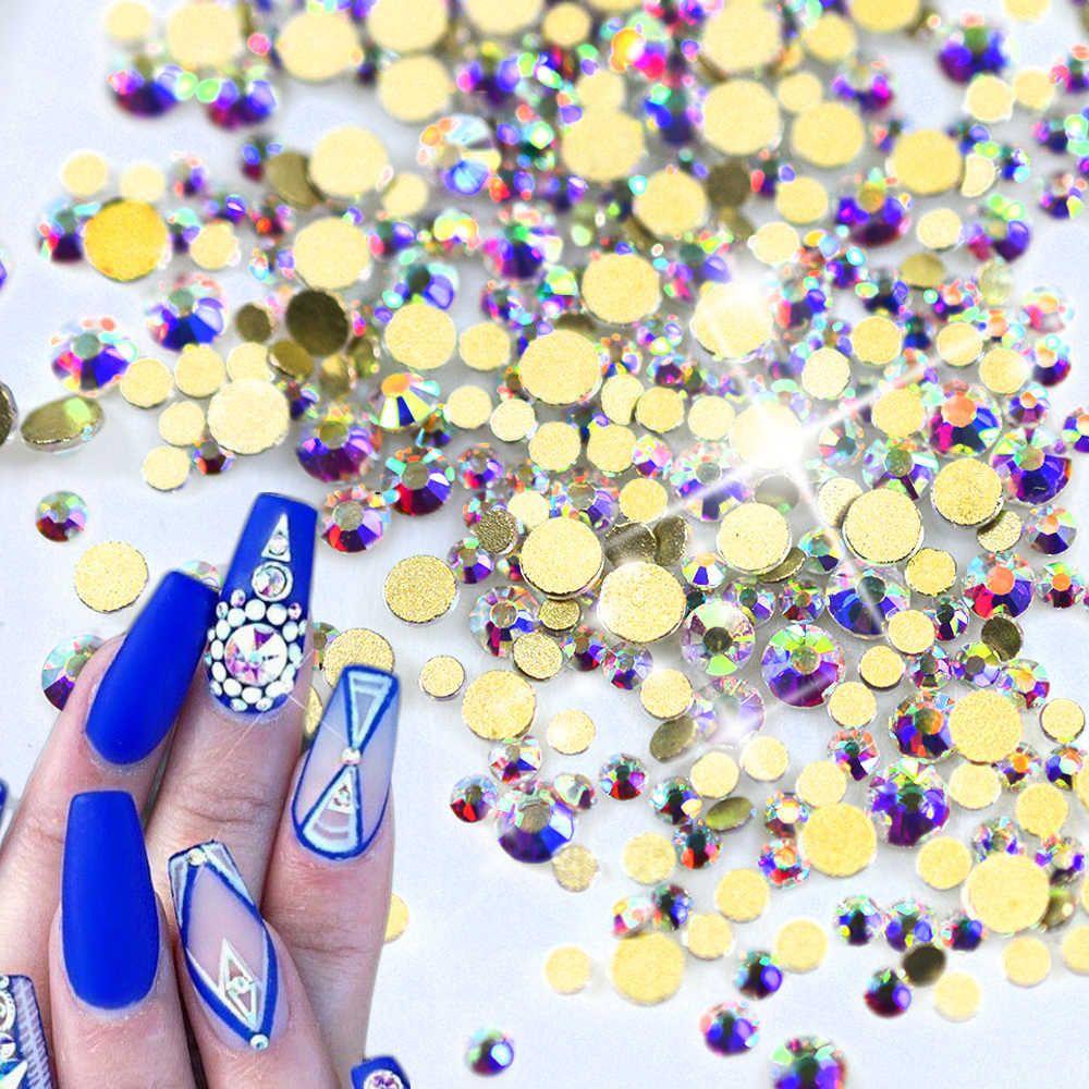 1440pcs Crystal Glitter Gold Nail Art Decorations New Diy Glass Flatback Rhinestones For Nails Phone Clothe Decor