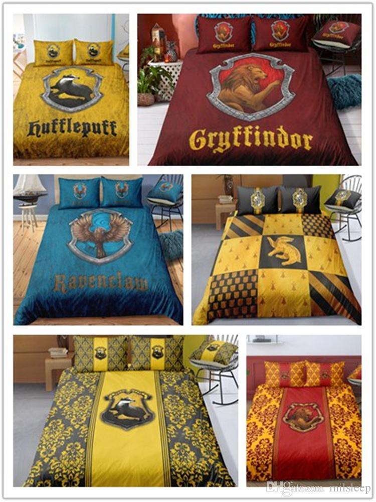 3D Bedding Set Harry Potter Campus Badge Print Duvet Cover Set Bedcloth with Pillowcase Bed Set Home Textiles