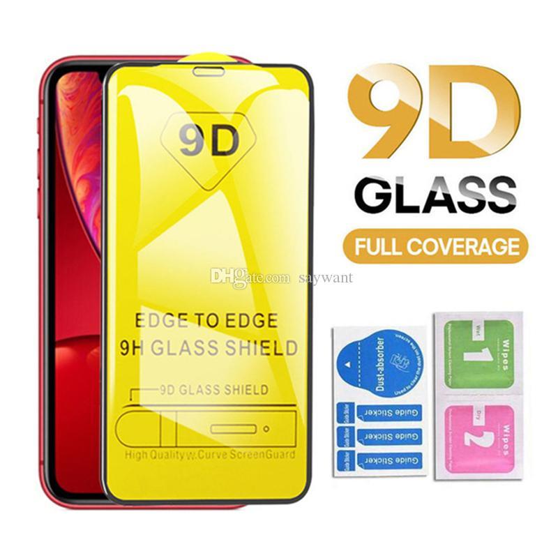 Della copertura della protezione completa 9D Colla vetro temperato dello schermo per iPhone Pro 11 XR X XS MAX 8 7 6 Samsung A20 A50 A70