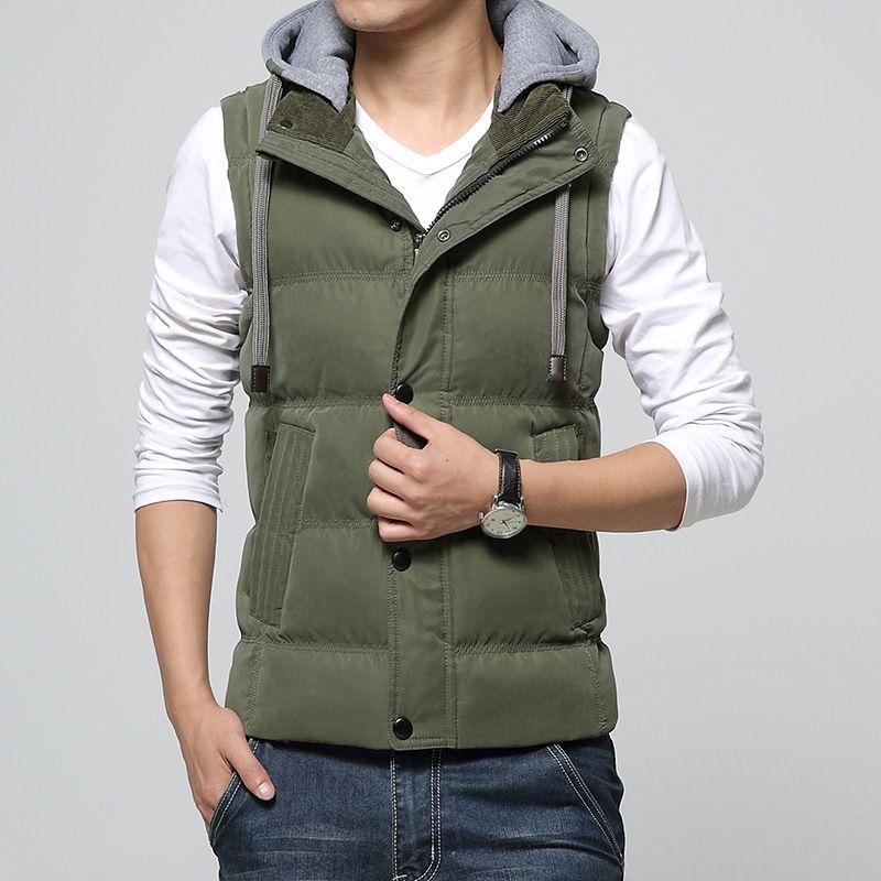 Nuovi Uomini di Inverno Del Cappello Della Maglia Del Cotone Gilet Outwear Senza Maniche Giacche Plus Size Sport Outdoor Uomini Caldi maglia fz1423